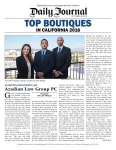 Los Angeles Employment Lawyers Selected To Prestigious List Of Top 20 Boutiques Law Firms In California