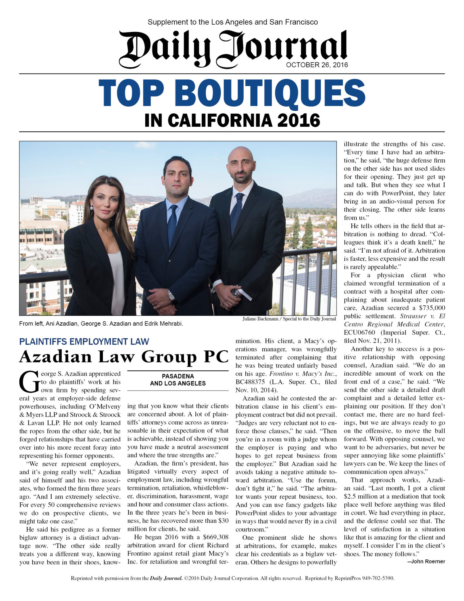 Local Employment Lawyers Selected To Prestigious List Of Top 20 Boutiques Law Firms In California