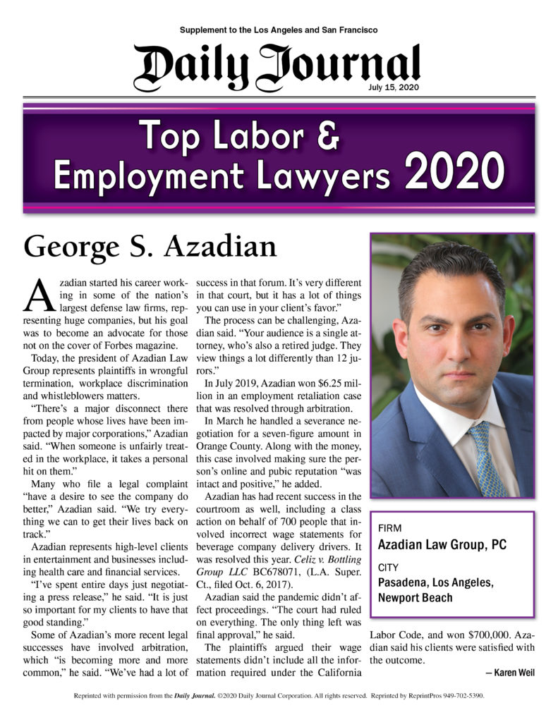 "Los Angeles Wrongful Termination Lawyer, George Azadian, Selected As ""Top Labor Employment Lawyers 2020"" By Daily Journal."
